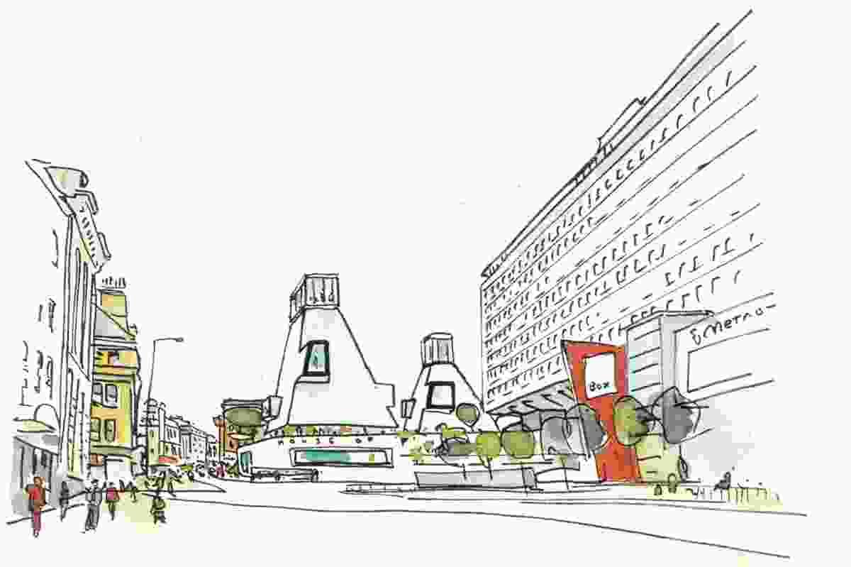 Scenographic urbanism – masterplan for Pilgrim Street Newcastle, 2007.