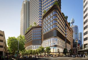 The north tower of Sydney's Pitt Street over-station development, designed by Foster and Partners with Cox Architecture.