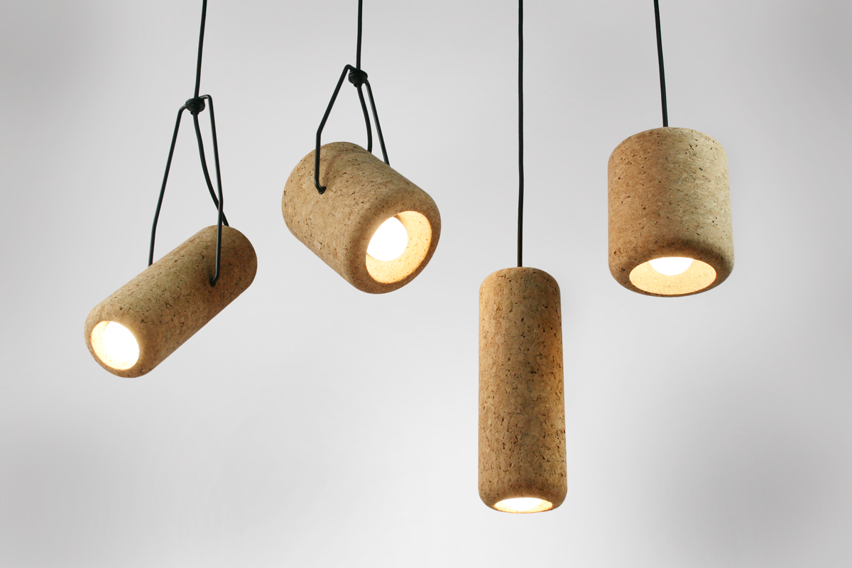 The design playfully engages with the iconic  Australian cork hat while embracing cork's sustainable properties.
