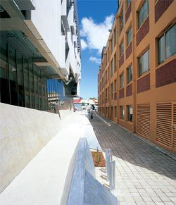 Looking along Fenn Place between the Dorrit Black Building and the existing Catherine Spence building, which contains the new library.