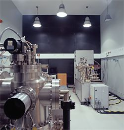 An isolated concrete room housing one of the nine highly sensitive microscopes.