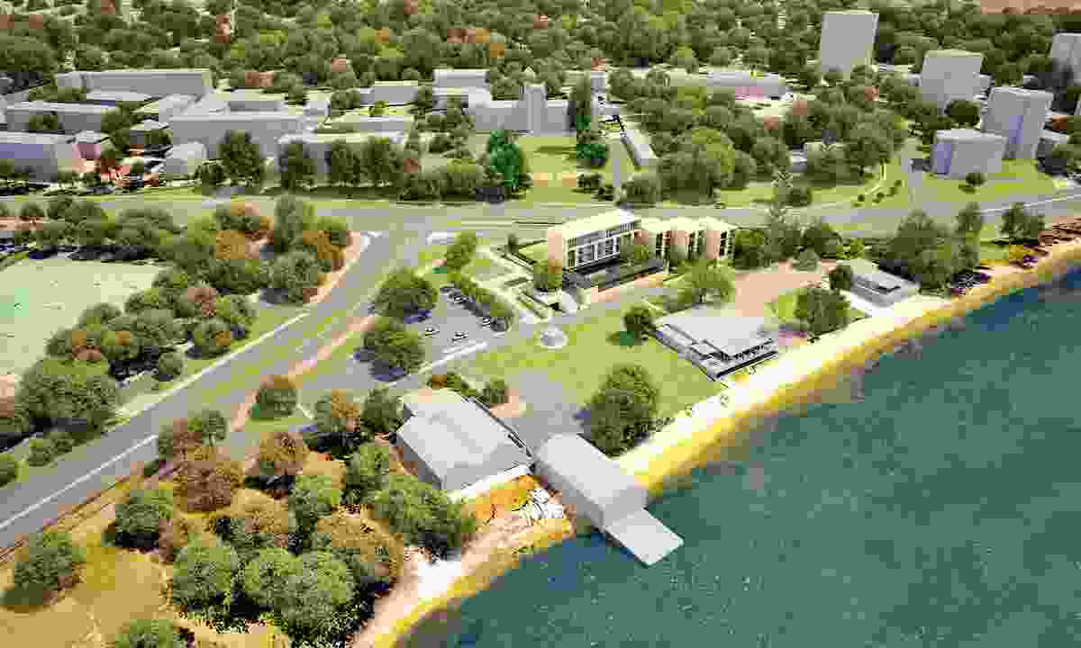 The proposed Forrest Hall at UWA designed by Kerry Hill Architects will be located on the edge of the Swan River.