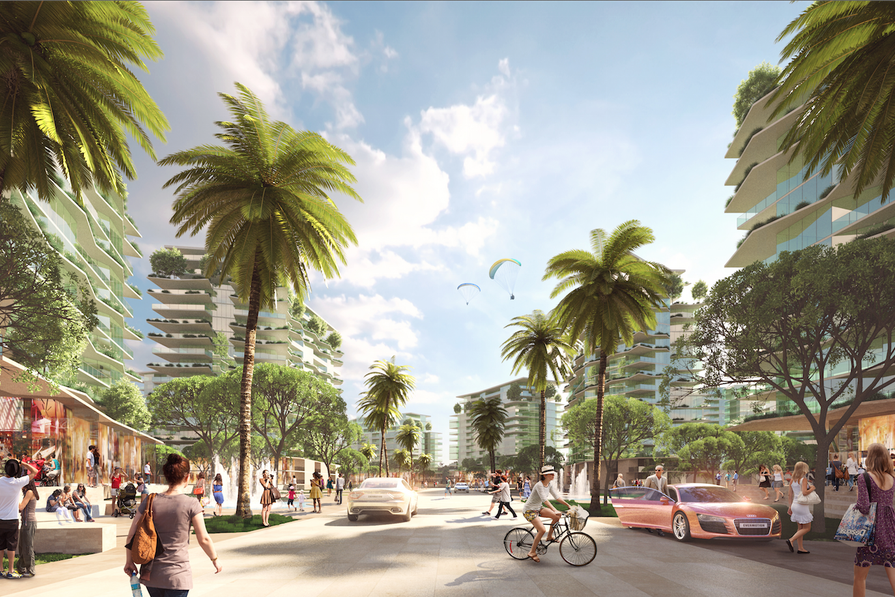 A visualization of the Gold Coast Integrated Resort to be masterplanned by Cox Rayner.