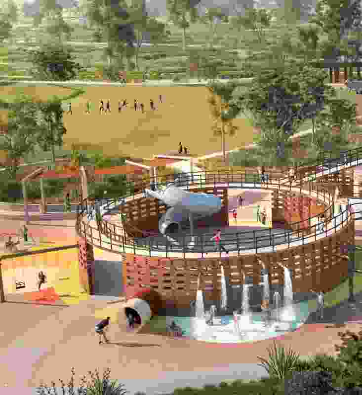 "The ""post-industrial"" playground will feature pipes, tanks and gangways."