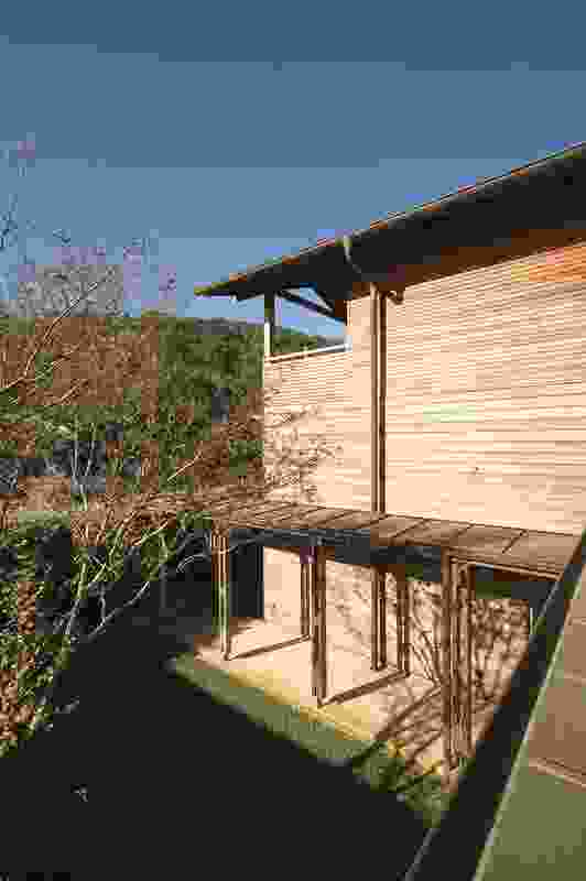 Pittwater House (2002): Naturally weathering hardwood protects the pavilions.