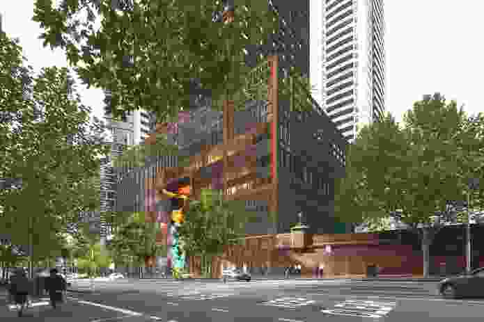 Podium of the mixed use tower at 383 Latrobe Street designed by Ateliers Jean Nouvel.