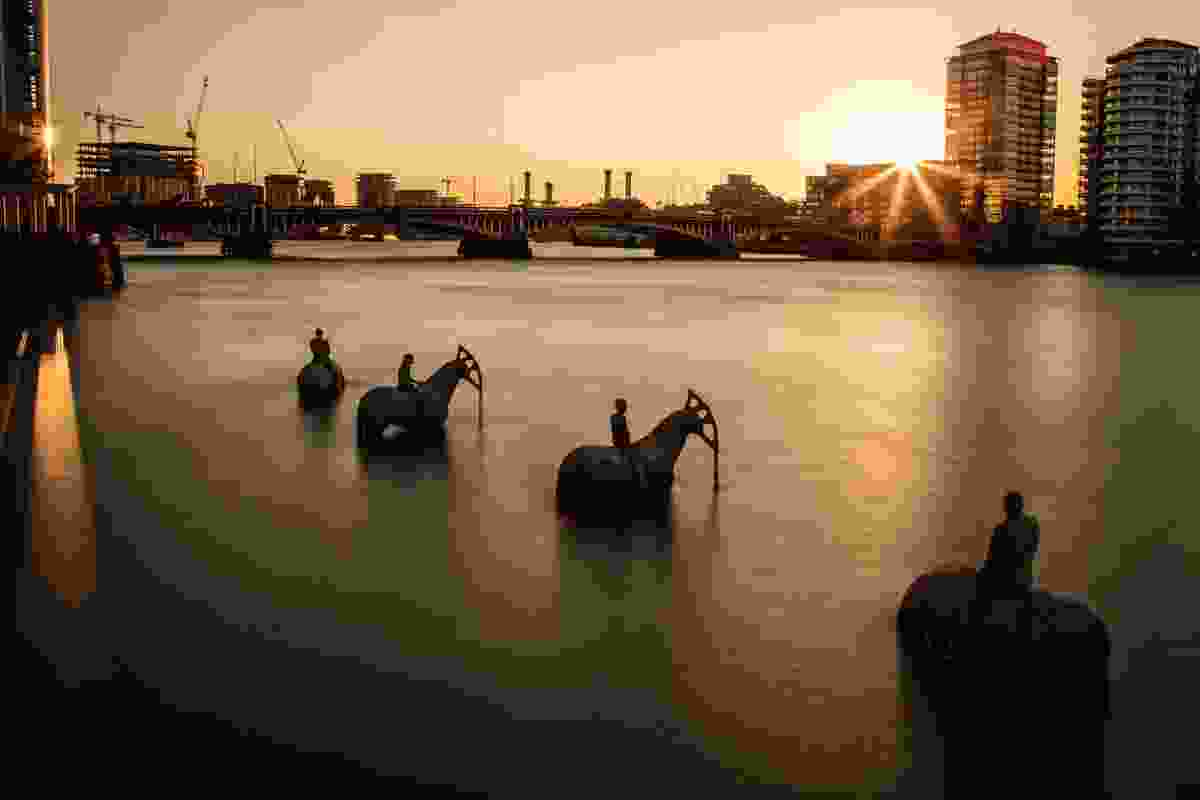 2015's Rising Tide installation, in which the four horsemen of the apocalypse emerged from the Thames across from the UK's House of Parliament.