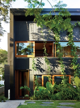 A disciplined unity of form is reinforced through material expression, with the exterior clad in dark-stained plywood.