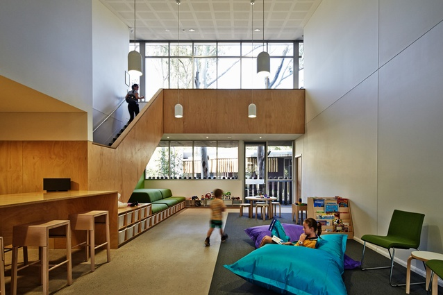 Inside the administration building, an open and light-filled waiting area provides families with a welcoming space.