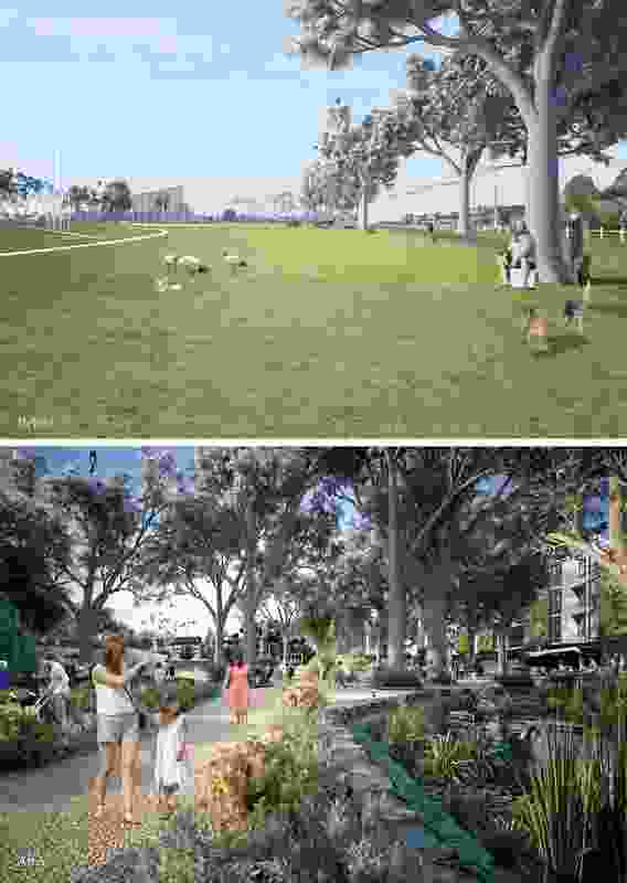 Before and after: in greenspace-oriented development, density and natural amenity are interwoven. Images courtesy of Robert Cameron.