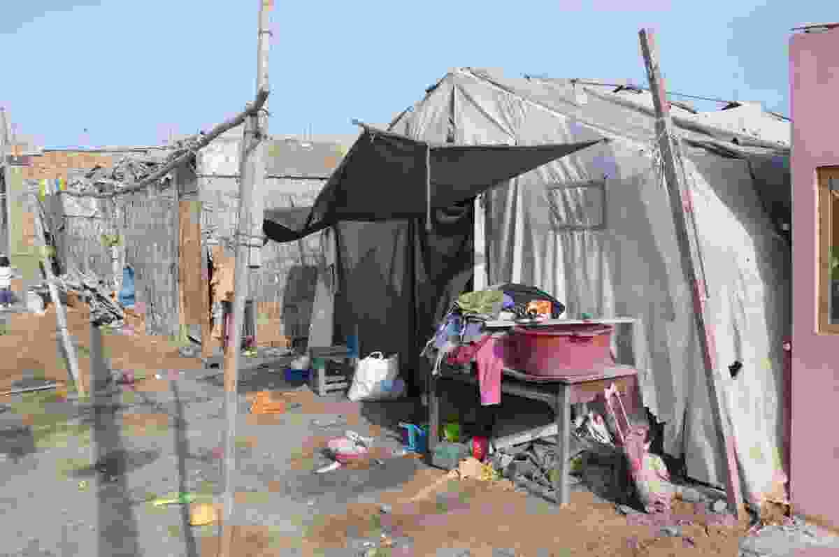 One of the initial red cross tents – still being used four years on.