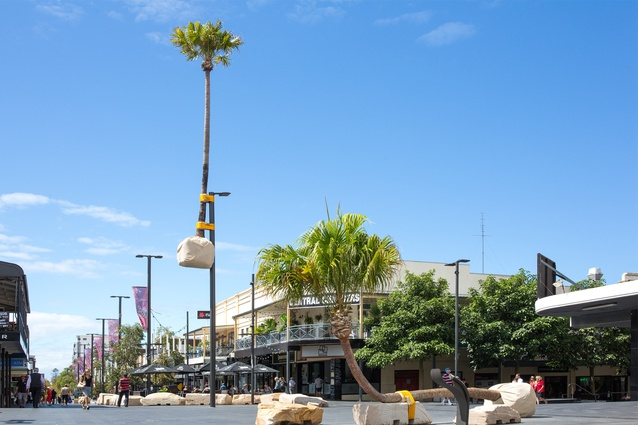 'Illawarra Placed Landscape', 2018 by Mike Hewson, a permanent artwork installed in the Crown Street Mall, Wollongong