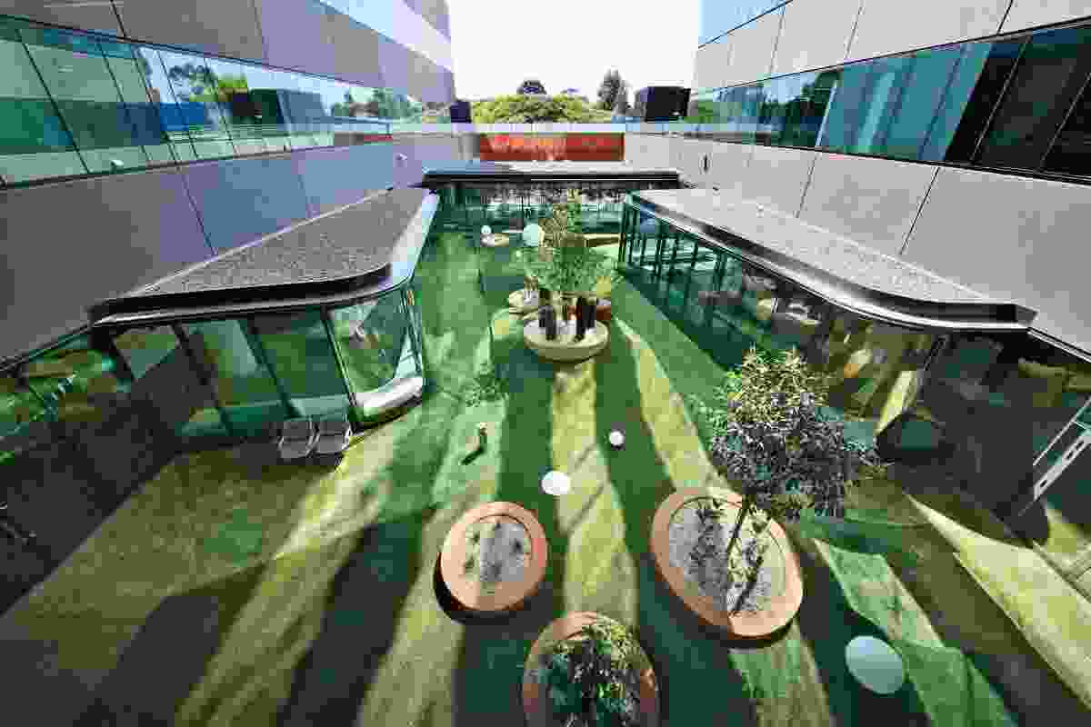 The outpatient courtyard features two-toned synthetic turf and concrete donuts.