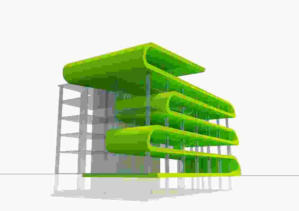 A concept scheme a C-grade office building upgraded to A-grade level.