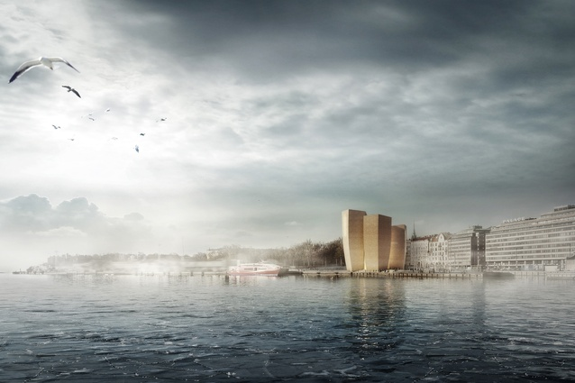 Finalist: Helsinki Five by Haas Cook Zemmrich STUDIO2050. Five towers form a shimmering beacon on the shores of the Baltic Sea.