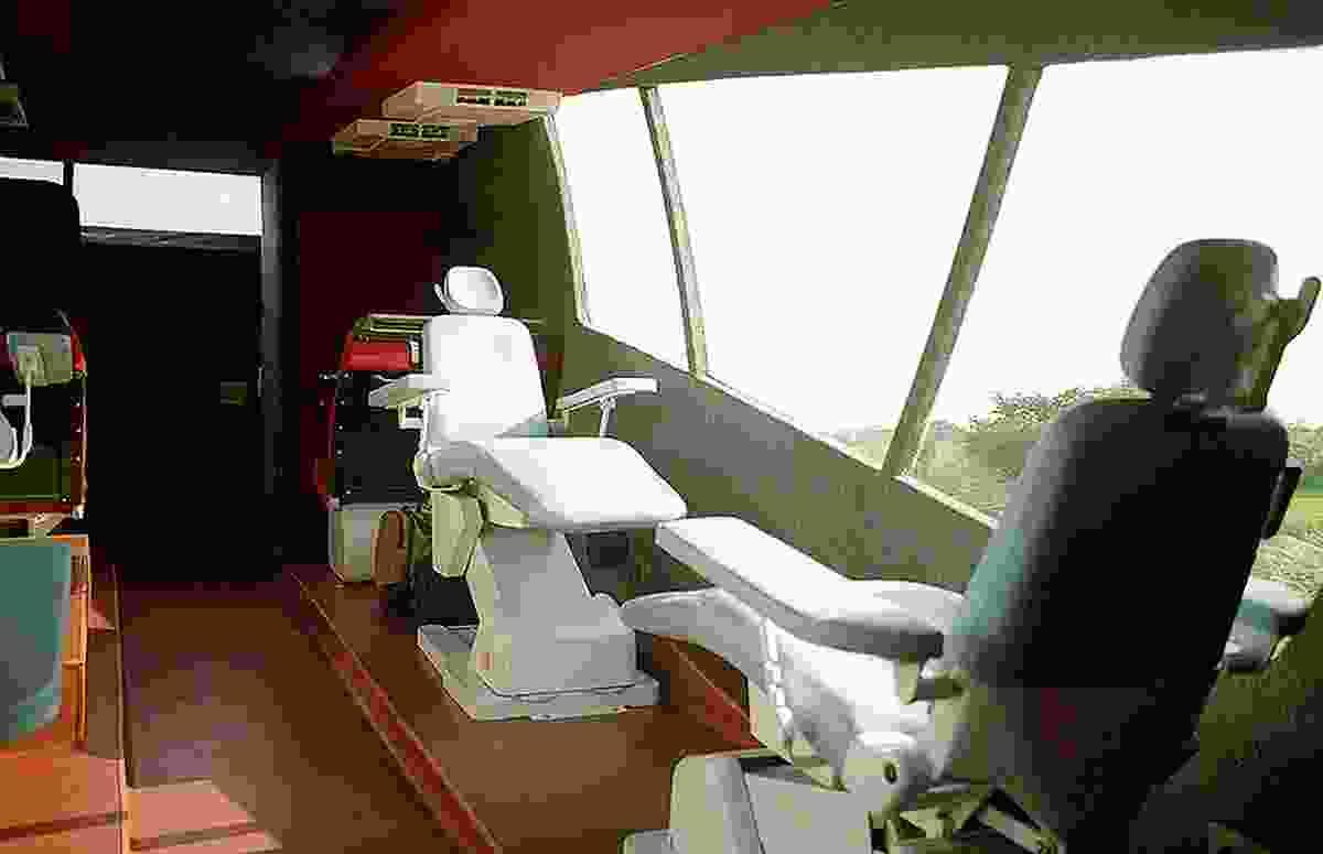 Interior of Cattiva mobile blood van by Gurjit Singh Matharoo.