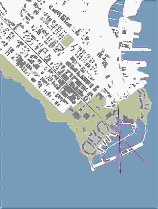 Existing CBD and masterplan showing connectivity to the city and vistas.