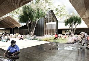 The Bininj (Traditional Owner) Resource Centre in the masterplan for Jabiru by NAAU and Enlocus.