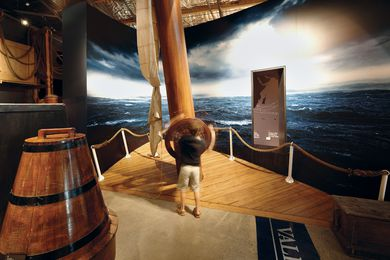 Visitors can try steering the three-masted iron barque vessel.