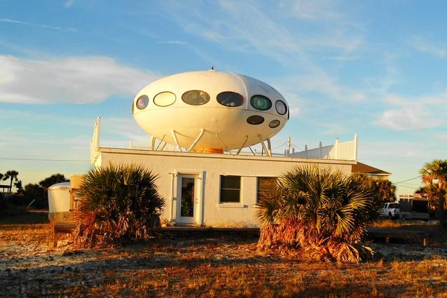 A Futuro house atop another house in Pensacola Beach, Florida.