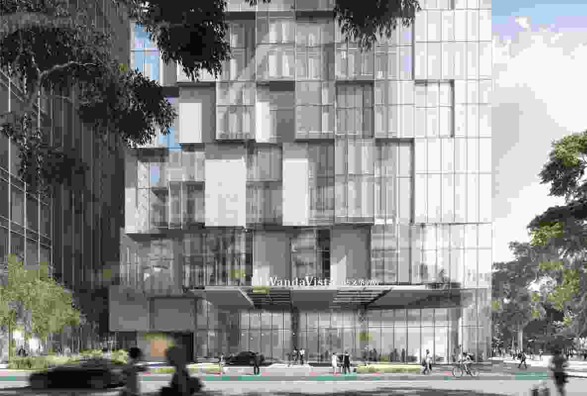 The northern and eastern facades of the proposed hotel tower designed by Kengo Kuma and Associates and Crone will be made from panels of glass to allow views.