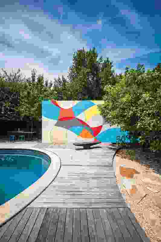 Outdoor spaces have been updated, including the insertion of a pool. Artwork: Nicole Le Leu.