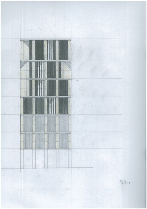 A preliminary sketch of the AHL Headquarters elevation. While referencing the rhythms and materiality of the civic promenade, the building has its own unique order.