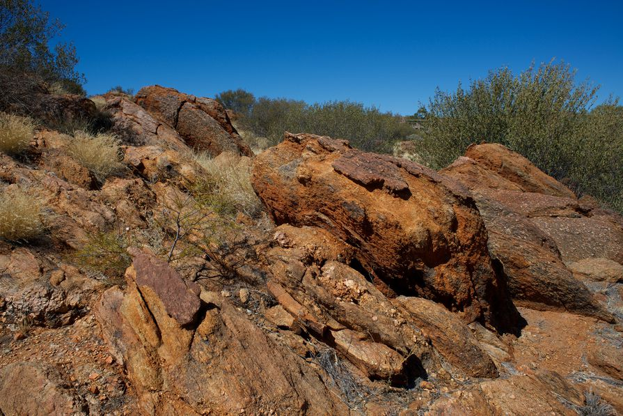 A rock formation at the Olive Pink Botanic Gardens.