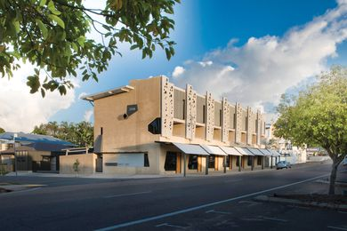 The mixed-use development brings an unexpected geometry and rhythm to Echlin Street in West End, Townsville.