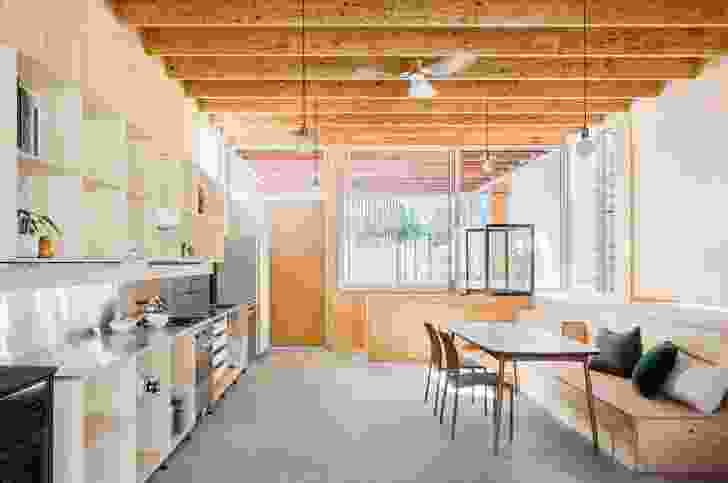 Plywood is used in a considered manner, providing rhythm and composition to each of the rooms.