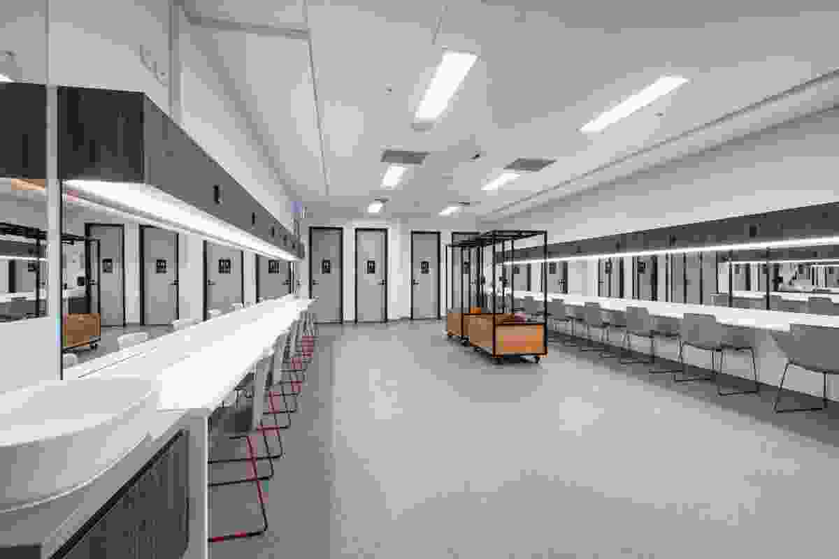 The chorus dressing room in the redevelopment of Her Majesty's Theatre by Cox Architecture.
