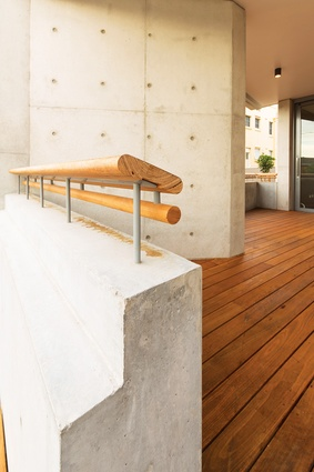 Surprising details include the suspended timber railings on top of concrete upstands.