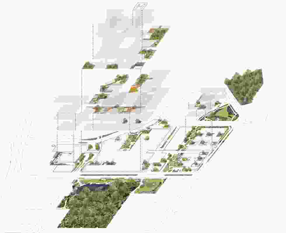 Exploded plan showing landscape components across various levels.