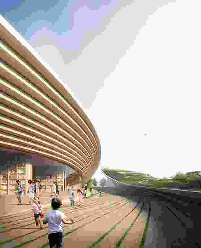 Connection between two buildings in the winning proposal for Singapore Founders Memorial by Kengo Kuma and Associates and K2LD Architects.