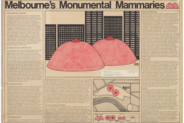 "Entry in the 1978 Melbourne Landmark Ideas Competition: ""Melbourne's Monumental Mammaries."""