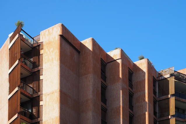 Brick facade of the Apartmentos Girasol by Jose Antonio Coderch (1966) with inspiration from Alvar Aalto.