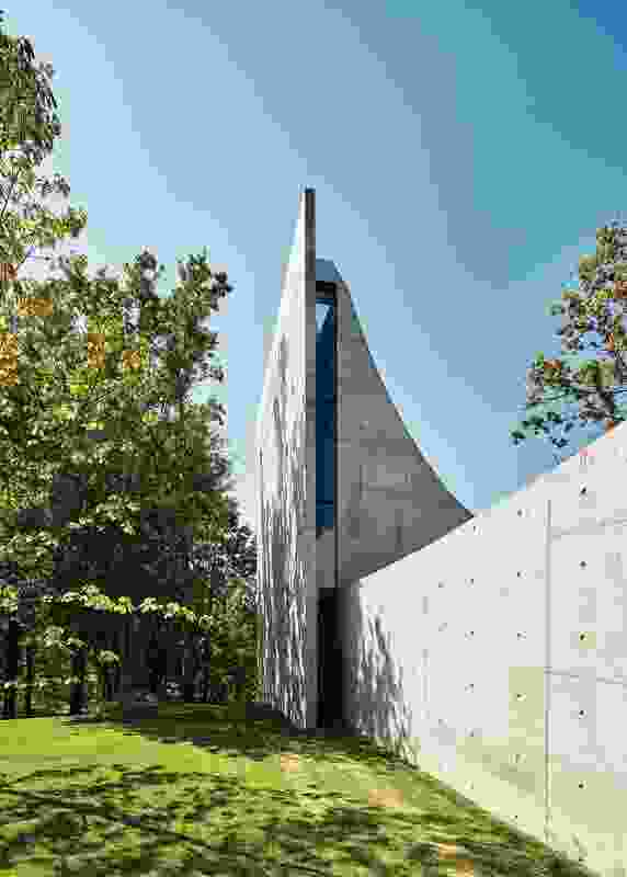The chapel's vertical scale takes an unexpected leap, shooting upward to the sky with its sinuous concrete roof.