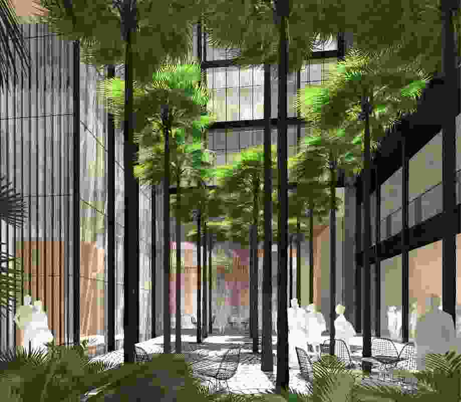 The existing courtyard of the Department of Education building will have a new courtyard garden with tall palms.