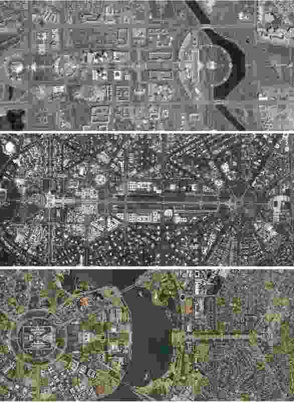 From top to bottom: aerial views of Astana, Delhi and Canberra.