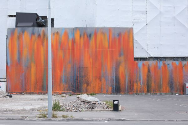Concrete Propositions: A paint-splattered wall on Worcester Street. The huge, abstract painting was applied to a wall revealed by demolition by artist Ash Keating.