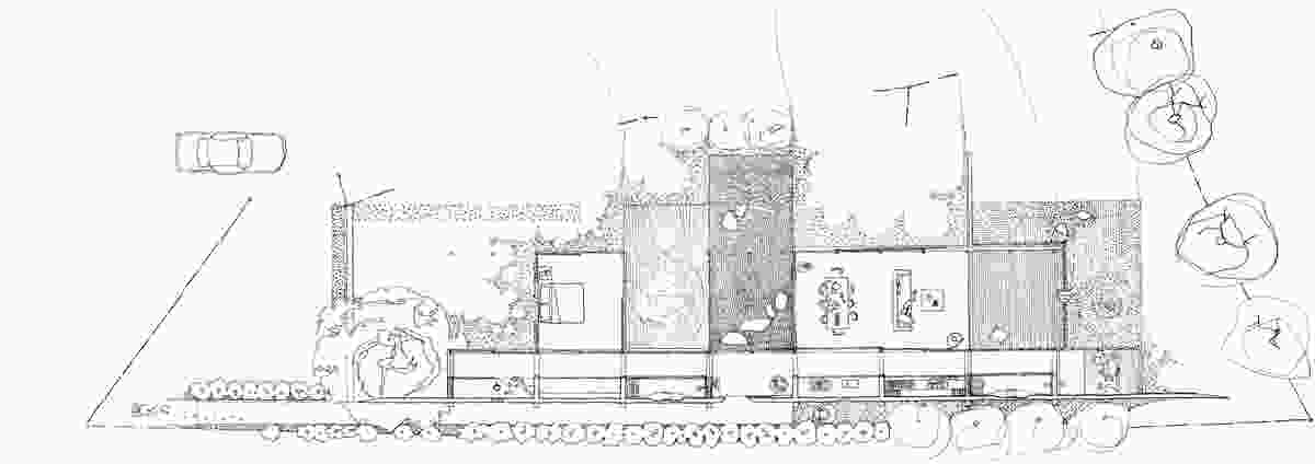 A sketch plan of Wall House, Shizuoka, Japan by Peter Stutchbury with Keiji Ashizawa Design (2007-09).