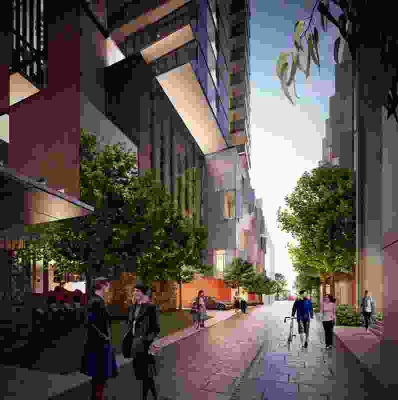 The plan for the six-towers in the Montague precinct at Fishermans Bend includes laneways, a pocket park as well as plazas.