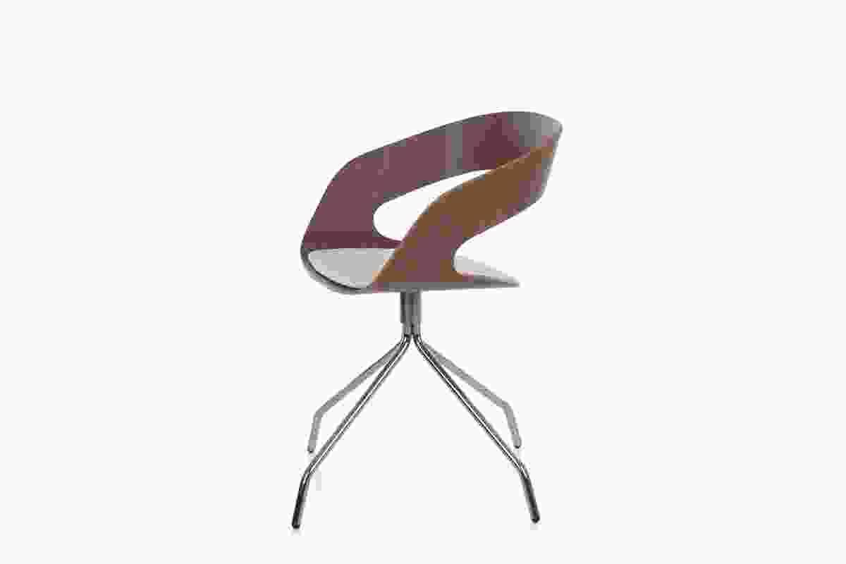 Chat Swivel Chair in walnut finish.