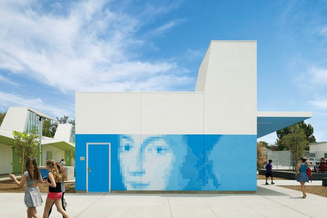 Supergraphics and bold colours feature on the walls of the John Adams Middle School in Santa Monica.