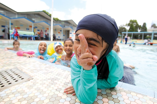 Children taking part in a swimming program in Auburn, New South Wales for refugee and migrant children. Image , photography by Gene Ramirez