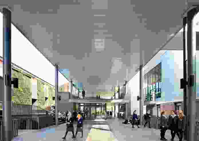 The project creates a new social hub for the school that includes a cafe in the centre of the external thoroughfare.