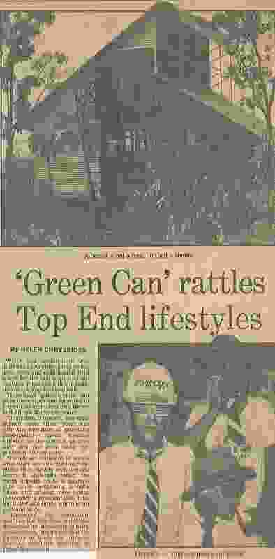 """""""'Green Can rattles Top End lifestyles,"""" The Australian, 1983."""
