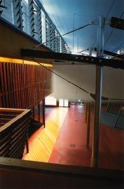 Looking from the mezzanine over the gallery, mast posts and punkahs. Image: Patrick Bingham-Hall