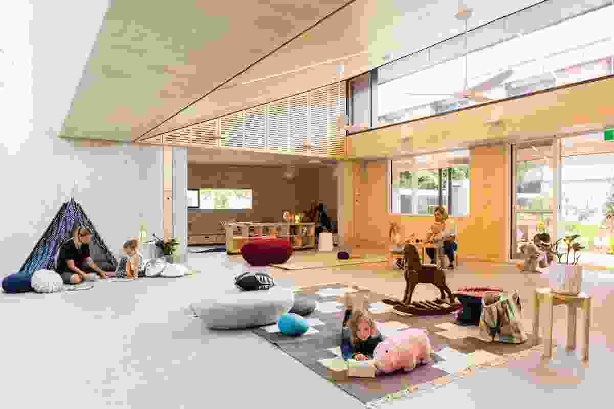 Concrete, ply and stained timbers create a light-filled and imaginative series of spaces in the Waranara Early Learning Centre (2017), which will cater to families in the growing Green Square precinct.