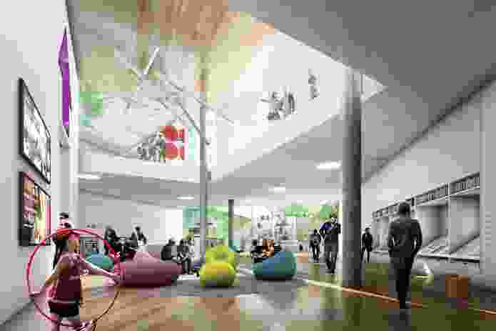 The winning proposal for Green Square Library and Plaza by Stewart Hollenstein + Colin Stewart Architects.